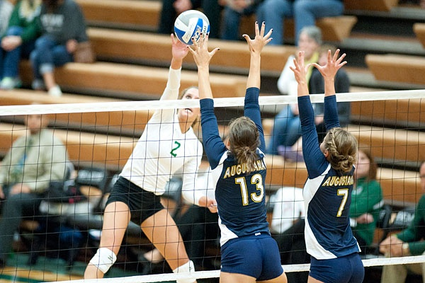Bethany Thompson for BSU against Augustana! For more information visit http://www.bsubeavers.com/volleyball/news/2012/6019/augustana-sweeps-beavers-3-0/