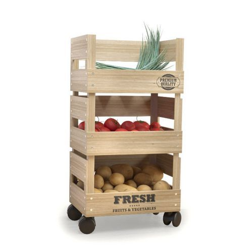 Wooden Trolley 3 Tier Kitchen Fresh Vegetable Fruit Storage Rack Cart with Wheels