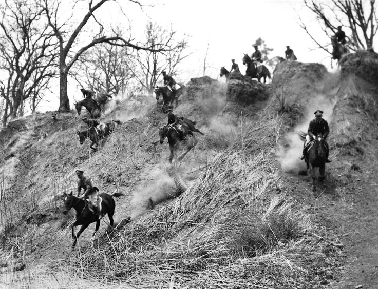"""May 3, 1936: """"A practice ride for the United States Military Olympic Team,"""" training for the pentathalon in the Berlin Olympics. A June 8article went over the results of an """"exhibition"""" of the team's skills at Rye, N.Y., calling it """"one of the largest assemblages ever to witness an outdoor horse show in the East."""" Photo: The New York Times"""