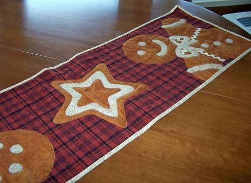 Quilted Gingerbread Table Runner  Table runners  Table