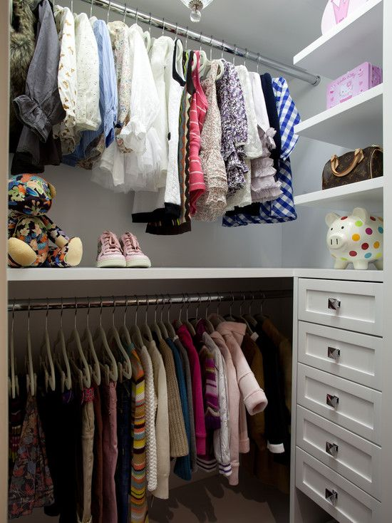 SallyL: LA Closet Design - Cute girly closet with white floating shelves and contemporary nickel ...