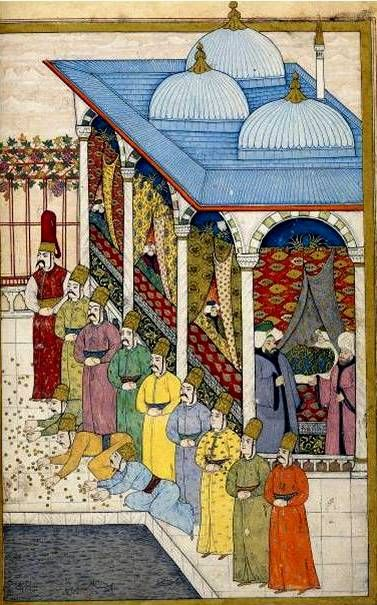 Sultan Ahmed III scattering golden coins on the terrace of the Fourth Court in the Topkapi Palace-Surname-i Vehbi-1720