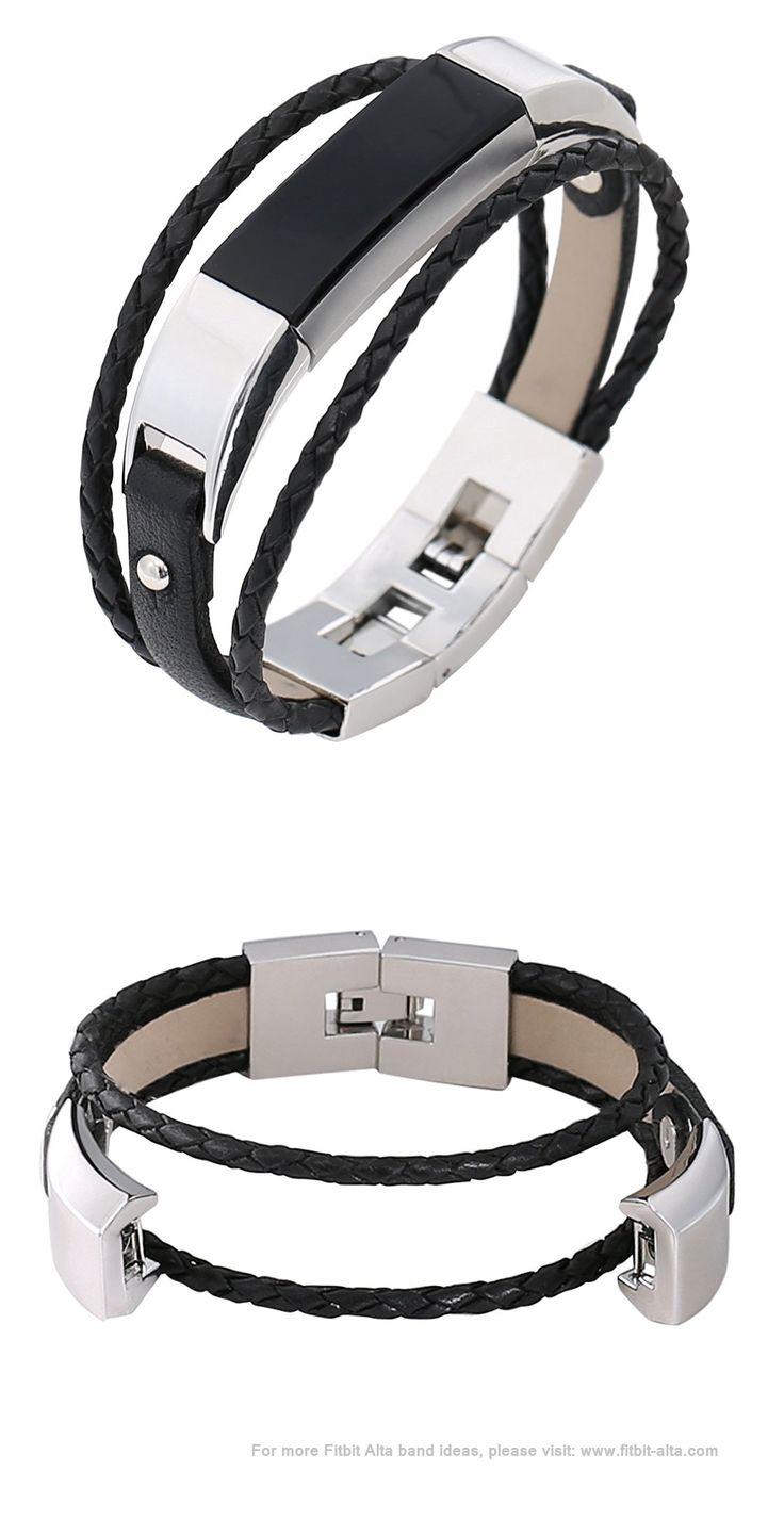 "bayite Leather Bands Bracelet for Fitbit Alta, 5.8"" - 7"" - Black"