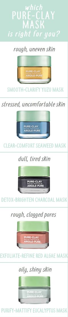 Which pure clay mask is for you? Featuring L'Oreal Pure Clays with yuzu lemon, seaweed, black charcoal, red algae, and eucalyptus.