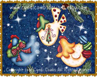 CC187 Funky Christmas Chickens 4 Painting E por CyndiCombsDesigns