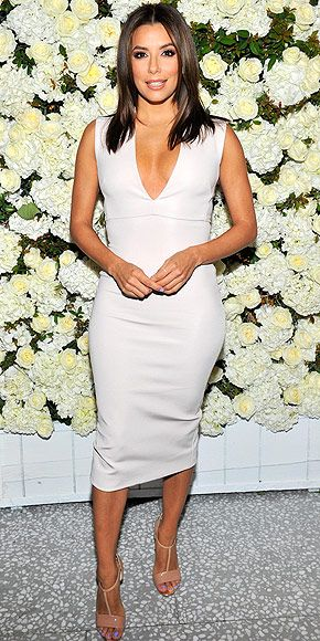Last Night's Look: Love It or Leave It? | EVA LONGORIA | wearing a curve-hugging V-neck dress and nude sandals, plus a pretty lilac mani/pedi, to celebrate the Victoria Beckham Collection hosted by the designer, her husband David Beckham and Barneys in Beverly Hills.