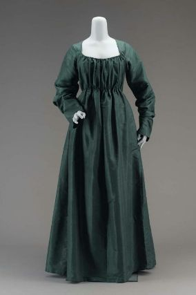 Museum of Fine Arts, Boston; Item 51.1968;  late 1790s,  American, Dress of dark blue-green silk; low square-cut neck, fullness of bodice in front, gathered with a drawstring at neck and at waist; fullness of skirt in back in pleats; long sleeves; linen underbodice.