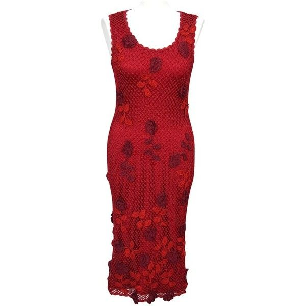 Pre-owned FishNet dress with flowers ($74) ❤ liked on Polyvore featuring dresses, red, red fishnet dress, karen millen dresses, red flower dress, macrame dress and crochet dress