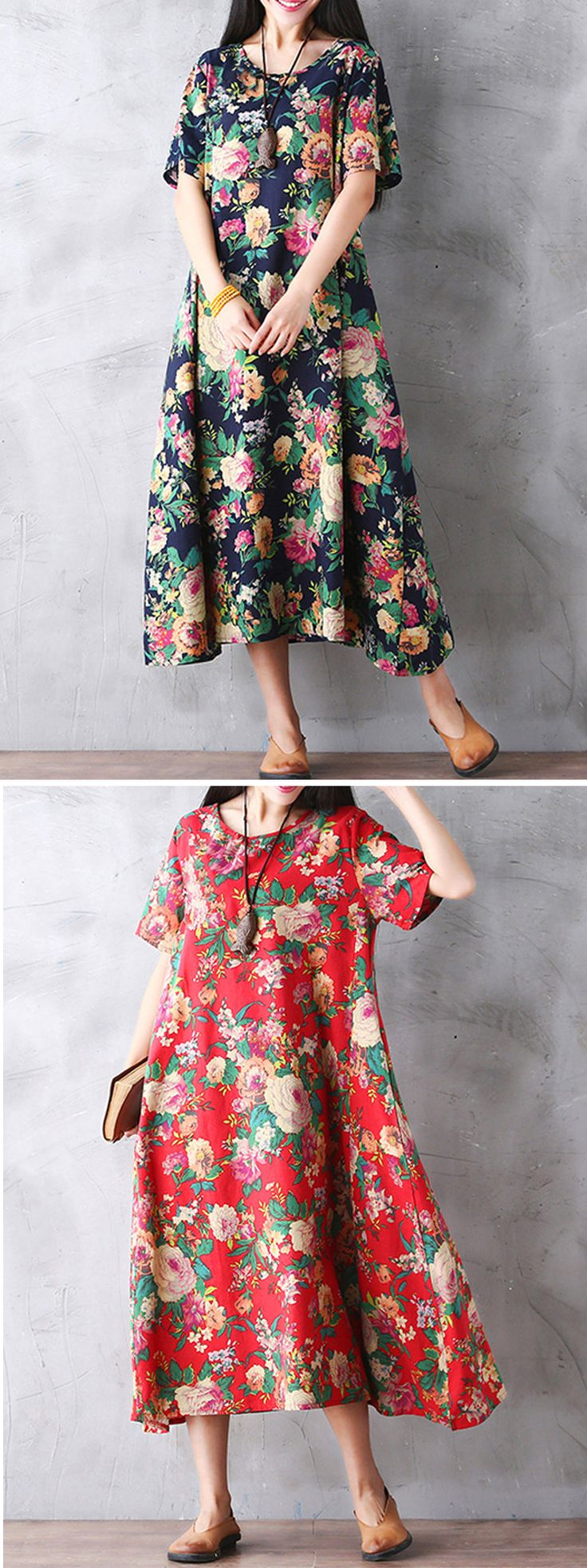 Gracila Women Vintage Floral Printed Loose Short Sleeve Maxi Dresses