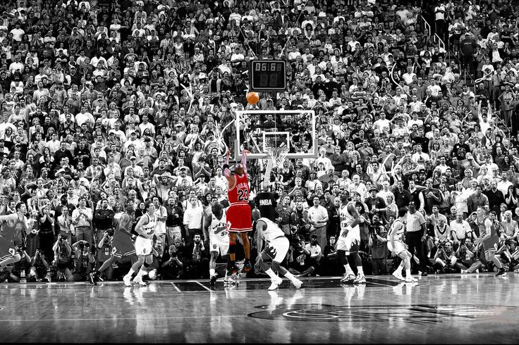 The last shot by Michael Jordan as the Chicago Bulls captain - 6.6 seconds left for the win...