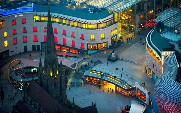 An aerial view of Birmingham (UK's) Bullring Shopping Centre at night