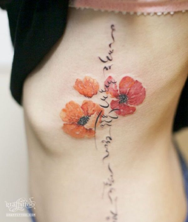 poppy flower tattoo 21 - 70 Poppy Flower Tattoo Ideas