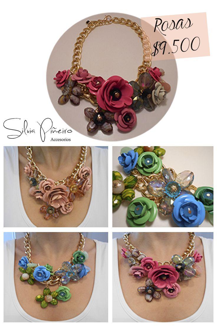 ::::NUEVO::::  Toda mujer debe tener un toque de rosas en su vida. En tonos: rosa fuerte, rosa pálido y verdoso. 54cm de largo.