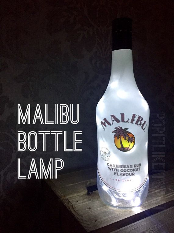 Malibu bottle lamp  700ml    Makes a quirky present.    A hole is drilled into the back of the bottle for the wire to exit.  Battery powered led