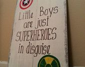 FREE SHIPPING U.S.** Superhero Sign / Little Boys Are Just Superheroes In Disguise / Captain America Incredible Hulk Avengers / boys room