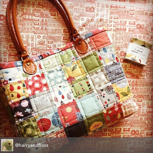 """How cute is this Moda Candy - mini charm - patchwork bag?  Made with 2 candy-packs of Basic Grey's Mon Ami, this adorable bag is from Harry & Floss in the UK - @harryandfloss. They're described as the """"prettiest fabric, wool , haberdashery shop ever"""". #ShowMeTheModa #ModaFabrics"""