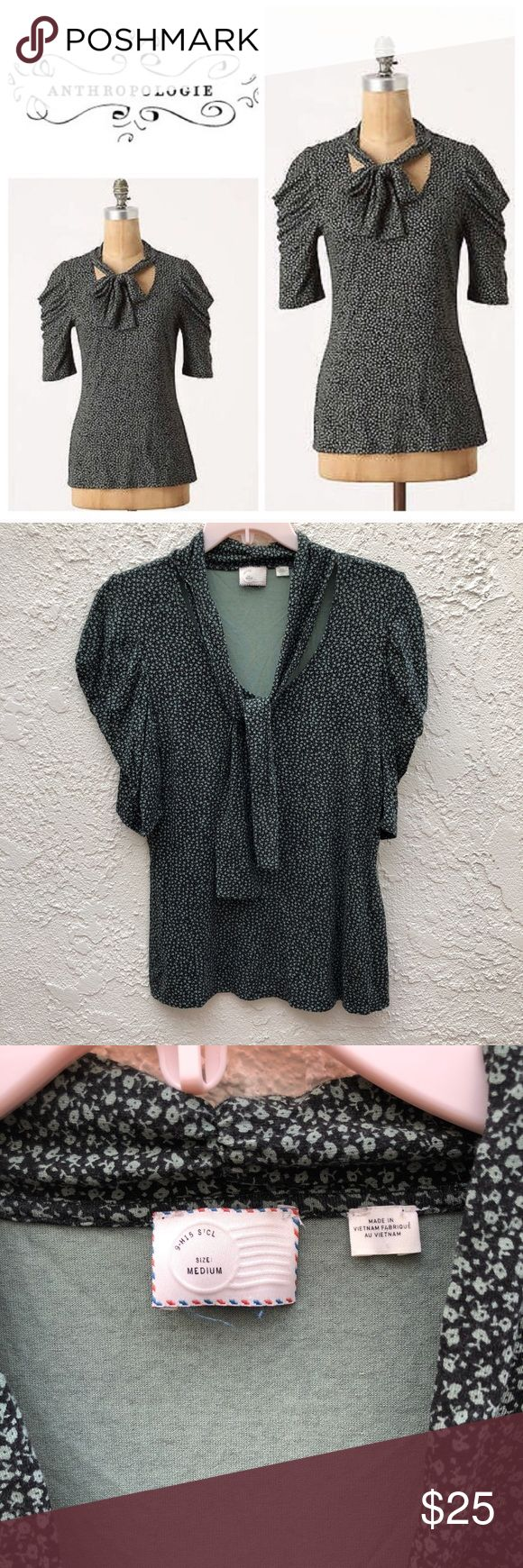 Anthropologie Postmark Pompon Tie Ruched Sleeve T Anthropologie Postmark Pompon Dotted Tie Ruched Sleeve Tee Shirt. Tie neck. EUC Perfect condition. Beautiful green color. Anthropologie Tops Tees - Short Sleeve