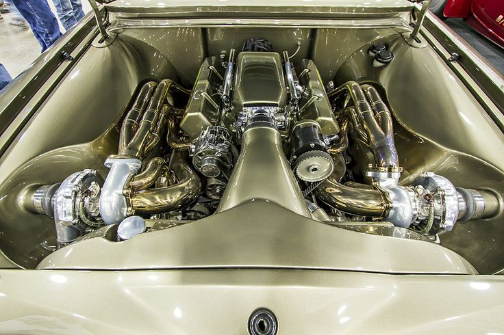 twin turbos in a gorgeous engine bay