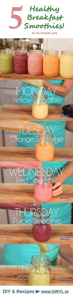 Learn how to make five easy smoothie recipes, one for each day of the week!