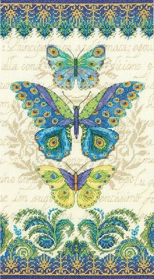 Peacock Butterflies Counted Cross Stitch Kit  #crossstitch #butterflies #butterfly #cross_stitch #kit #needlework #crafts #diy