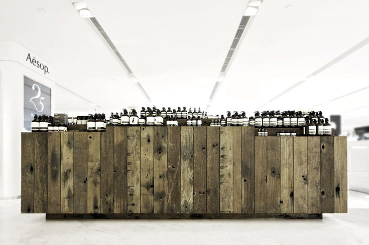 Boat timber installation by Cheungvogl for Aesop, Hong Kong.
