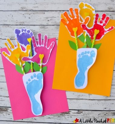 Paper handprint and footprint flowers - fun gift or keepsake idea // Papír virágcsokor kéz és láblenyomatokból - kreatív ajándék // Mindy - craft tutorial collection