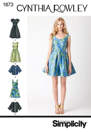 Simplicity 1873 Dress in two lengths with pleated skirt and loose fitting cape jacket