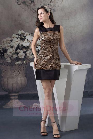 Leopard Jewel Zipper-Up Sheath/Column Charmeuse Sleeveless Mini/Short Cocktail Dress