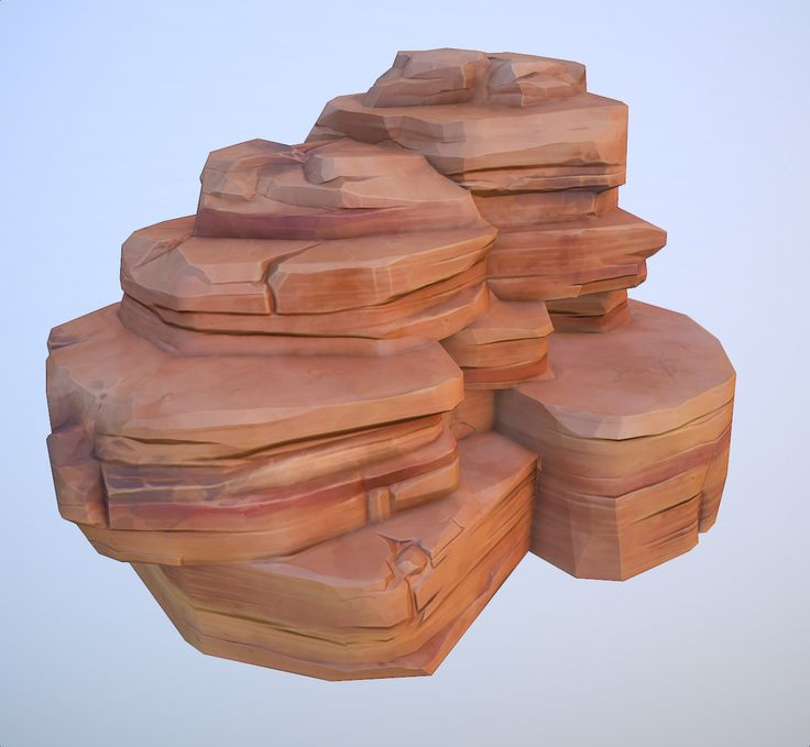 cartoon red desert rock 3d model