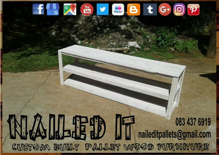 Pallet Wood server table. White finish.  #palletservertable #servertable #palletwoodservertable #nailedpalletfurnituredurban #naileditcustombuiltpalletfurniture #customfurniture #custompalletfurnituredurban #palletfurniture #palletwoodprojects #palletwoodfurniture