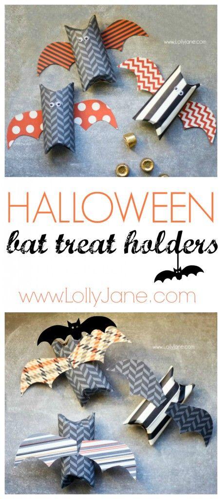 Cute Halloween bat treat holder made from toilet paper rolls  tutorial #halloween #treats