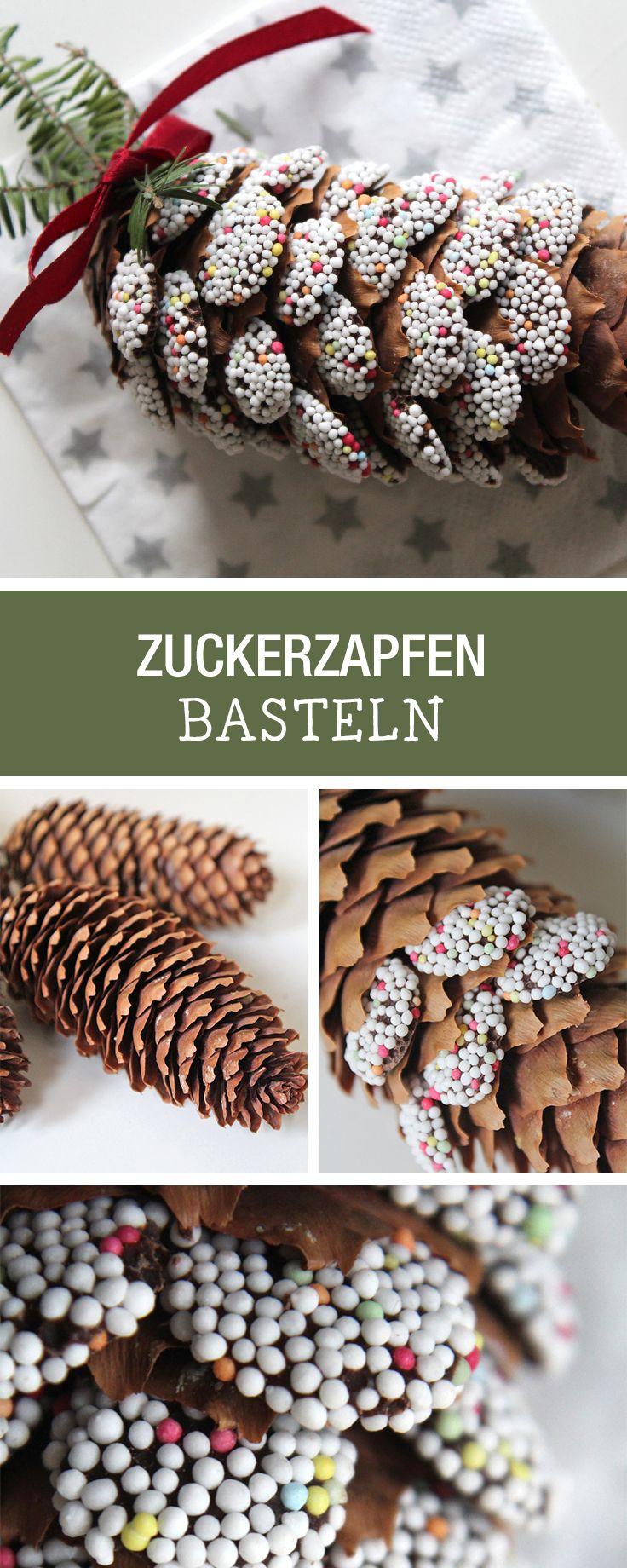 Süße Dekoidee für Weihnachten: Tannenzapfen mit schokoladiger Überraschung verzieren / how to make candy pine cones via DaWanda.com