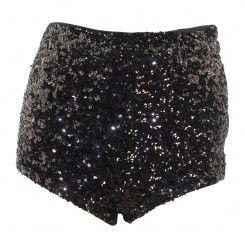 Topshop black sequin stretchy short shorts