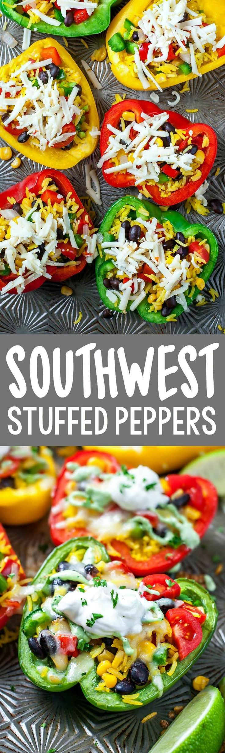 Cheesy Southwest Stuffed Peppers with Cilantro Avocado Sauce! vegetarian + gluten-free