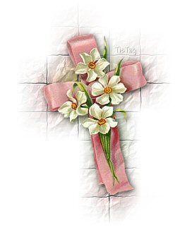 croce color rosa e fiori