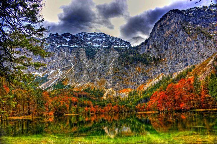 Terre/Nature Paysage  Terre/Nature Automne Montagne Forêt Arbre Lac Foliage Imagerie à Grande Gamme Dynamique Fond d'écran