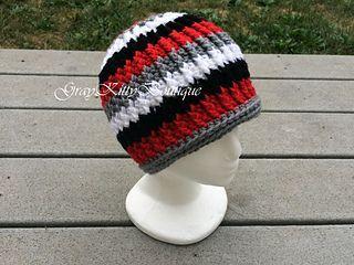Gavin Beanie - free teen/small adult sized crochet hat pattern by Gwen Wotring.