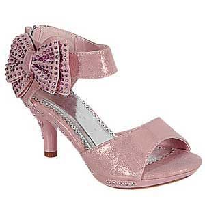 Light pink girls high heel shoes perfect for a pageant.