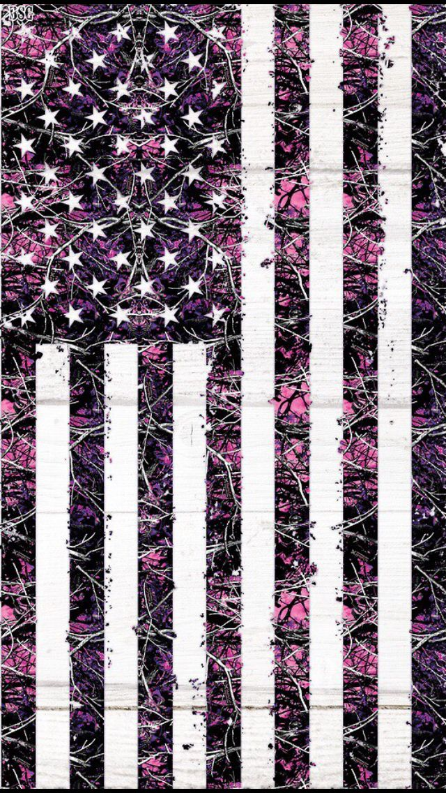 Pink Camo American Flag