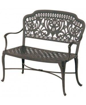 hanamint tuscany cast aluminum bench shown in desert bronze finish