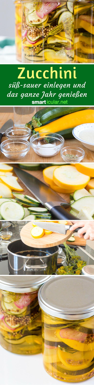 Wenn im Sommer alle Zucchini gleichzeitig reifen, ist Kreativität bei der Verarbeitung gefragt. Diese süß-sauer eingelegten Zucchini kannst du bis in den Winter hinein lagern und genießen! (Vegan Recipes Zucchini)