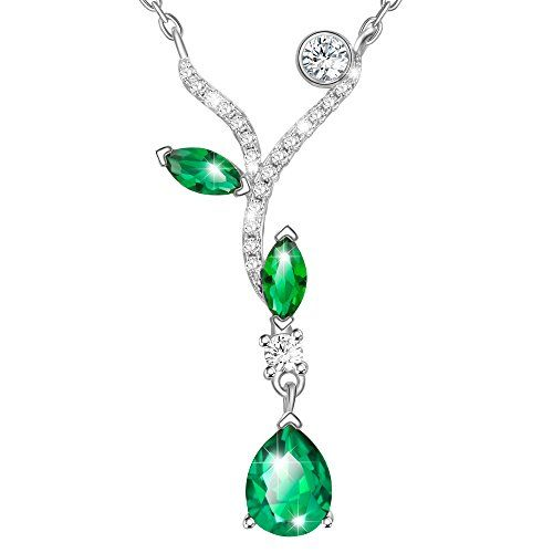 Dawanza Cadeau Fête des Mères Collier <b>Femme</b> Cristal Vert ...