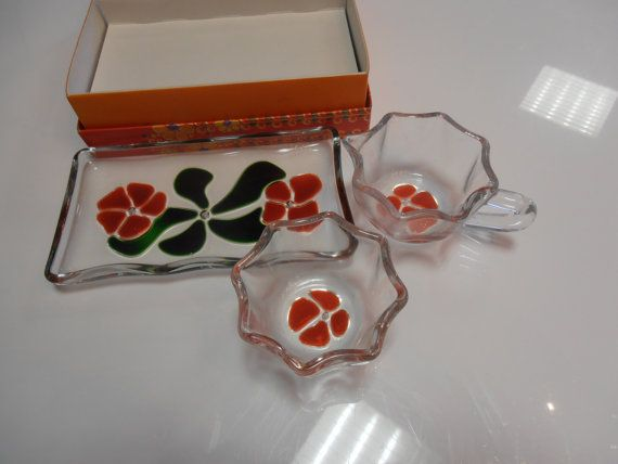 Vintage Sugar and creamer set designed by Walther glass