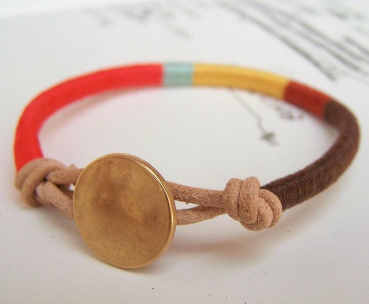 Cooper bracelet textile leather by OrangeistheSun: Thread Bracelets, Textiles Leather, Decoration Idea, Bracelets Textiles, Cooper Bracelets, Diy'S Fashion, Friendship Bracelets, Leather Bracelets, Handmade Jewelry