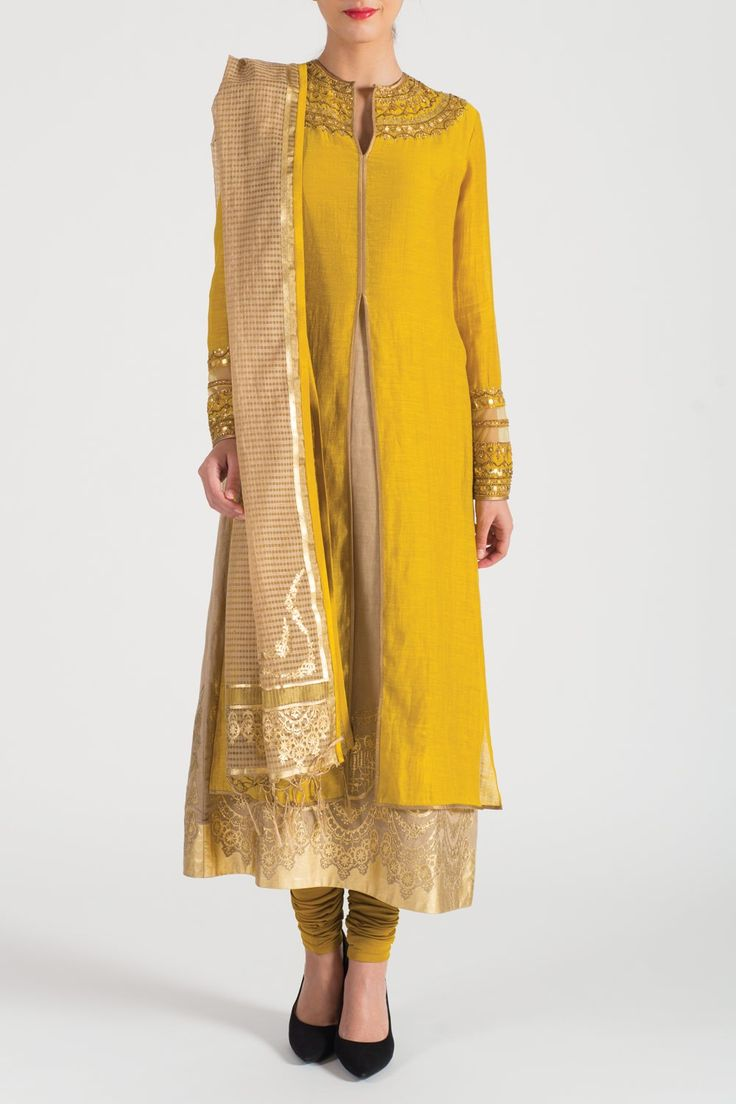 Straight Suit with Panel - Churidar Kurta Sets - Ready to Wear