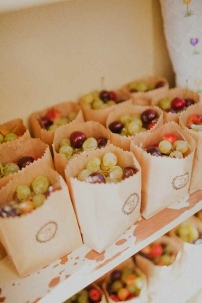 DIY Wedding Favors: Fresh Fruit- with stylish packaging it is both chic & scrumptious