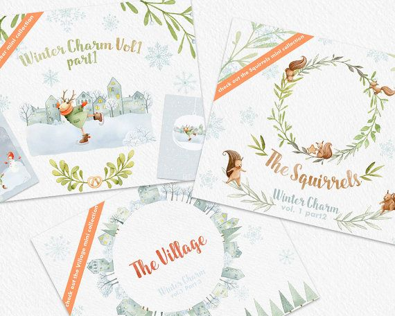 Digital watercolor clipart for personal or small commercial use  Winter Charm Vol.1 - Part1 - The Deer - clipart illustrations, scenes, elements and card templates  Our cute Deer is skating away the Winter :-)  Check out the coordinating collections - the Squirrels here: https://www.etsy.com/listing/473535986/winter-clip-art-squirrel-watercolor and the Village here: https://www.etsy.com/listing/487102369/winter-clipart-snowy-village-watercolor...