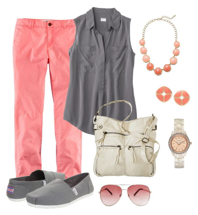 """""""Teacher Outfit- Coral & Gray"""" by chuncoa ❤ liked on Polyvore"""