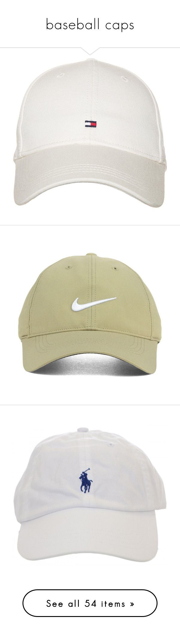 """baseball caps"" by jazziearmstrong ❤ liked on Polyvore featuring accessories, hats, tommy hilfiger cap, tommy hilfiger, white hat, caps hats, tommy hilfiger hats, headwear, nike golf and nike golf cap"