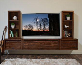 Wall Mount Entertainment Center ECO GEO Mocha 3PC by WoodwavesInc